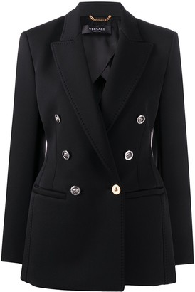 Versace Contrast-Hardware Double-Breasted Blazer