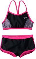 Speedo Girls 7-16 Heather Splice Boyshort Bikini Swimsuit Set
