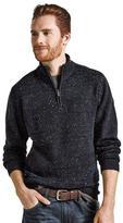 Point Zero Men's Textured Sweater With Zippered Mock Neck