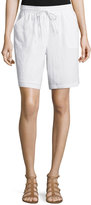 Neiman Marcus Linen Drawstring Shorts, Simply White