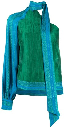 ZEUS + DIONE Scarf Neck Printed Blouse