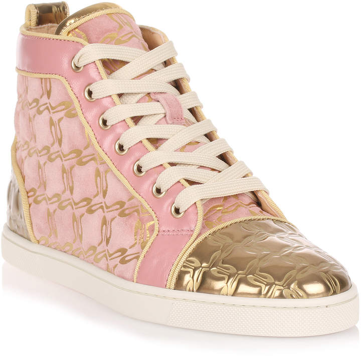 Christian Louboutin Bip Bip pink and gold suede sneaker