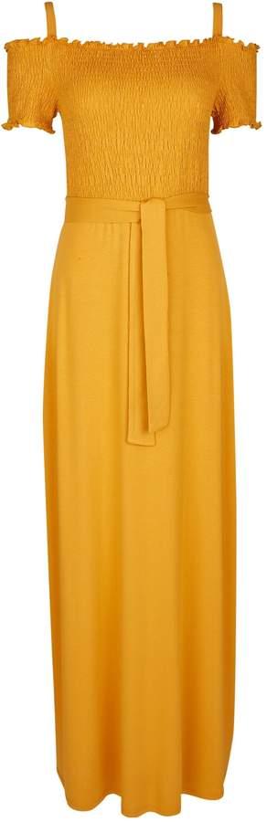 Dorothy Perkins Womens Yellow Shirred Cold Shoulder Maxi Dress