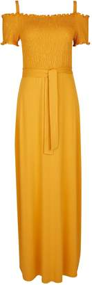 Dorothy Perkins Womens Yellow Shirred Cold Shoulder Maxi Dress