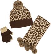 Pink Platinum Brown Cheetah Three-Piece Beanie Set