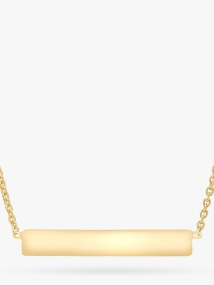 IBB Personalised Small Horizontal Bar Initial Pendant Necklace, Gold