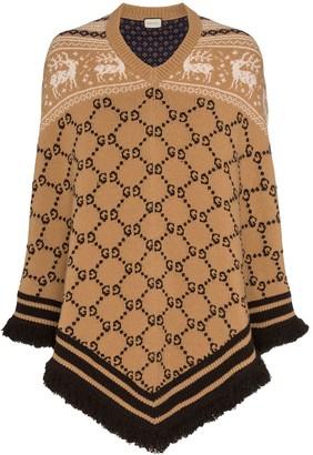 Gucci GG logo knit wool poncho