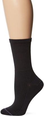 Yummie by Heather Thomson Yummie Women's Crew Sock Summer Linens - Black 9/11 (fits shoe sizes 4-10)