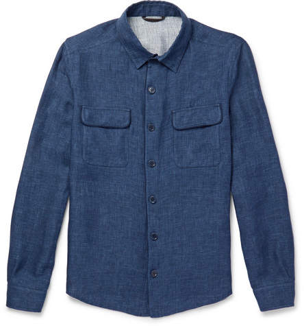 Loro Piana Suede-trimmed Linen And Cotton-blend Shirt Jacket - Indigo