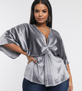 Outrageous Fortune Plus knot front velvet top in silver