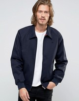Asos Harrington Jacket With Point Collar and Logo in Navy