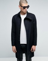 AllSaints Wool Overcoat with Funnel Neck Detail