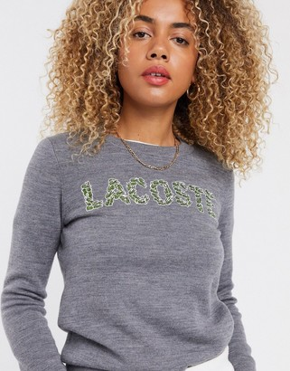Lacoste embroidered logo front sweatshirt in grey