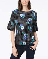 Charter Club Mixed-Print Bell-Sleeve Top, Created for Macy's