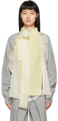 Sacai Grey and Off-White Wool Jersey Cardigan