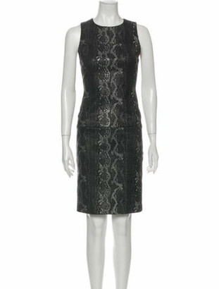 Alice + Olivia Lamb Leather Knee-Length Dress w/ Tags Grey