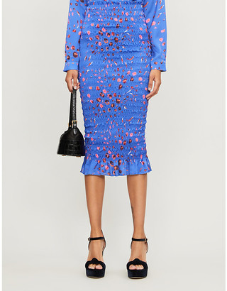 Selfridges Never Fully Dressed Jaspre floral-print satin midi skirt