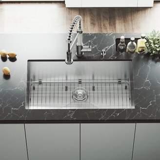 "Ludlow VIGO 32"" L x 19"" W Undermount Kitchen Sink with Faucet, Grid, Strainer, Colander and Soap Dispenser VIGO"