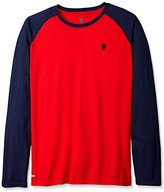 U.S. Polo Assn. Men's Big and Tall Color Block Raglan Long Sleeve Performance Top