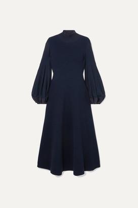 Akris Pleated Wool Midi Dress - Navy