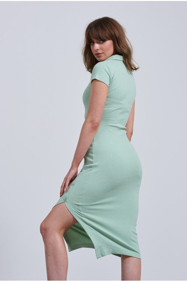 Thumbnail for your product : Little Mistress Sage Jersey Ripped Dress