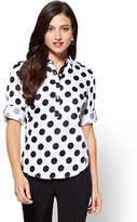 New York & Co. 7th Avenue - Madison Stretch Shirt - Popover - Dot Print