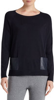 Lafayette 148 New York Wool Patch-Pocket Pullover Sweater, Navy