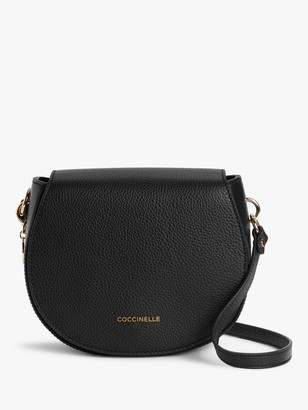 Coccinelle Alpha Leather Round Cross Body Bag, Black
