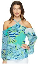 Hale Bob Hot Topics Cold Washed Silk Georgette Shoulder Top Women's Clothing