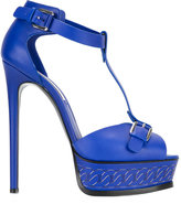 Casadei chain-effect platform t-strap sandals - women - Leather - 38