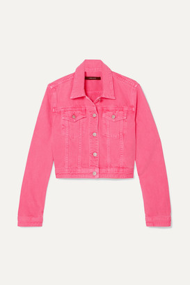 J Brand Cyra Oversized Cropped Denim Jacket - Bright pink