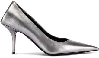 Balenciaga Square Knife Metallic Pumps in Silver | FWRD