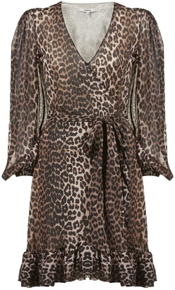 Ganni Leopard Print Wrap Dress