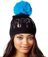 Betsey Johnson Women's Trolls Happy Multi-Sequin Beanie Hat / Blue
