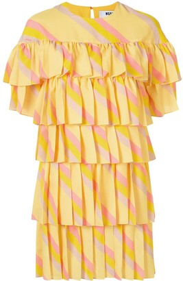 MSGM Ruffle Striped Dress