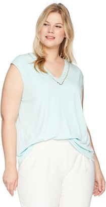 Calvin Klein Women's Plus Size Sleeveless V-Neck Top with Pearl Detail