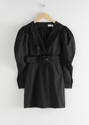 And other stories Belted Puff Sleeve Mini Dress