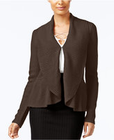 Cable & Gauge Ruffled Shawl-Collar Cardigan