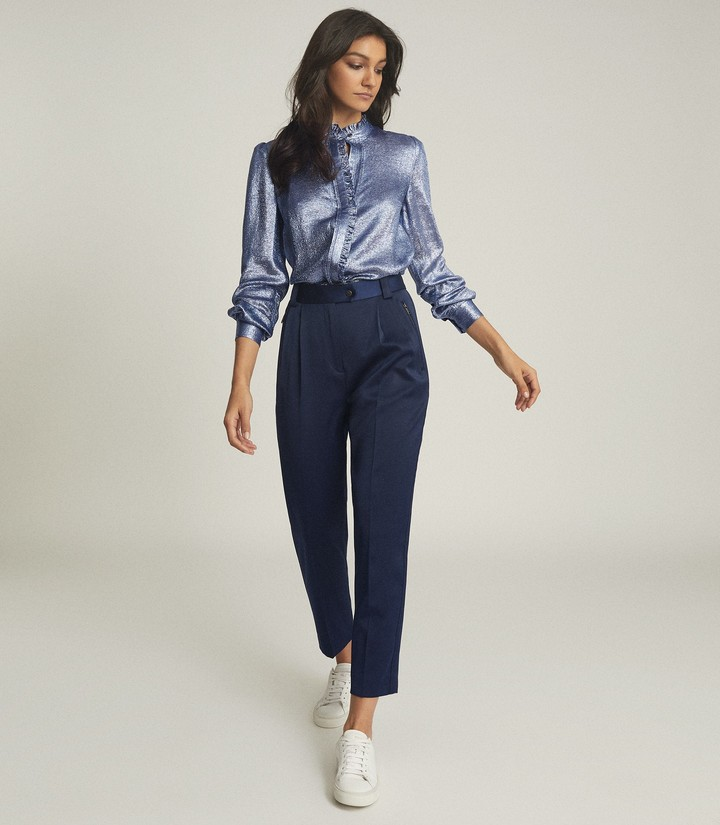 Reiss LIDDY METALLIC RUFFLE DETAILED SHIRT Blue