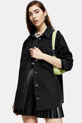 Topshop Womens Washed Black Denim Oversized Shacket - Washed Black