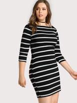 Shein 3/4 Sleeve Striped Tee Dress