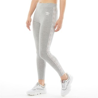 Umbro Womens Active Style Cotton Taped Leggings Grey Marl