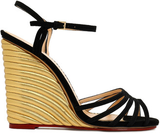Charlotte Olympia Suede And Metallic Leather Wedge Sandals