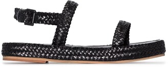 ST. AGNI Interwoven Strap Leather Sandals
