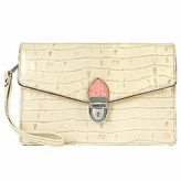 L.a.p.a. Ivory Croco-embossed Leather Clutch