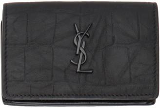 Saint Laurent Black Croc Monogramme Wallet