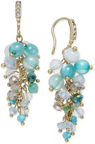 INC International Concepts Gold-Tone Mauve Stone and Crystal Cluster Drop Earrings, Created for Macy's