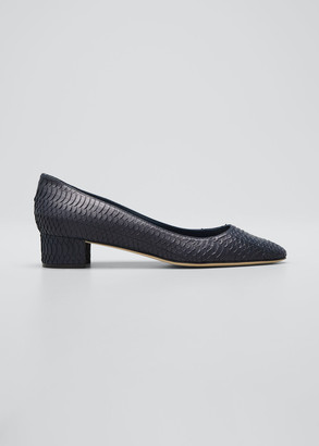 Manolo Blahnik Listony Snakeskin Office Pumps