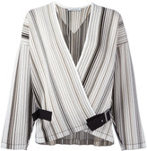 J.W.Anderson striped belted jacket - women - Cotton/Viscose - 8