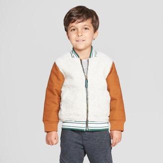 Osh Kosh Genuine Kids® from OshKosh Toddler Boys' Sherpa Bomber Jacket with Canvas Sleeves - 12M